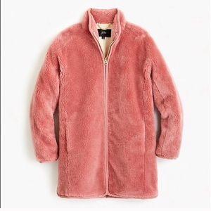 NWOT JCrew Pink Teddy Zip Coat